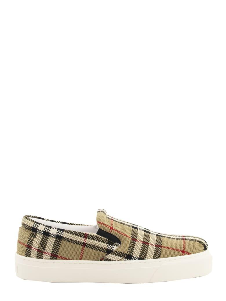 Burberry Thompson Bio-based Sole Latticed Cotton Slip-on Sneakers - Beige