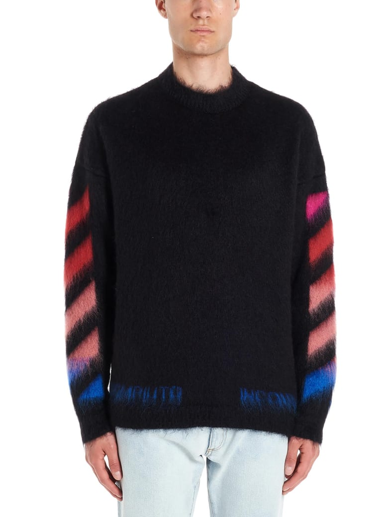 Off-White 'diagonal Brushed Mohair' Sweater - Black