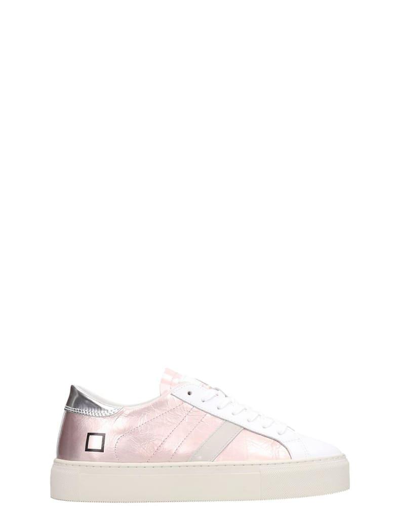 D.A.T.E. Laminated Leather Pink Vertigo Sneakers - rose-pink