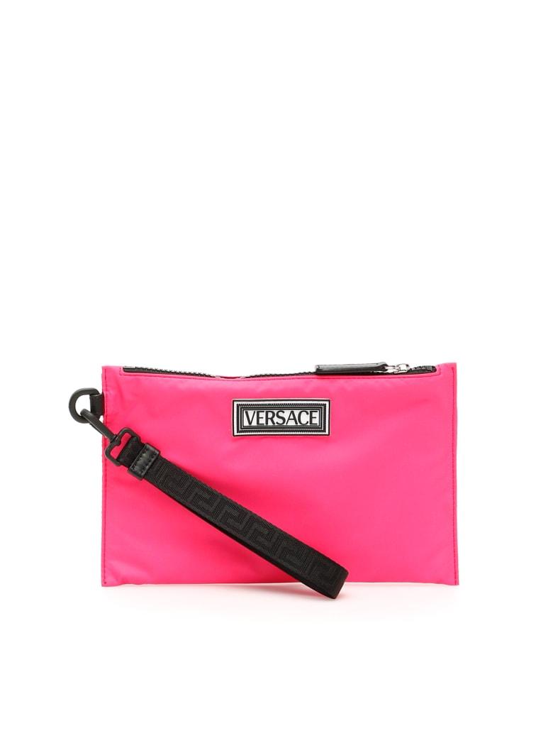 Versace 90s Vintage Logo Nylon Pouch - LIPSTICK NERO PALLADIO (Pink)