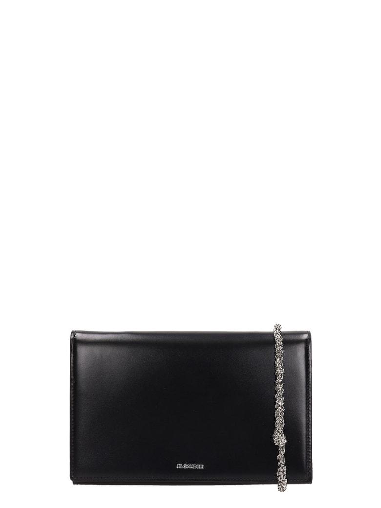 Jil Sander Black Leather Tangle Clutch Bag - black
