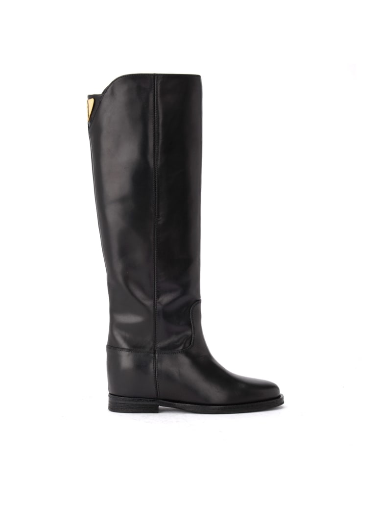 Via Roma 15 Boot In Black Leather With Back Logo. - NERO