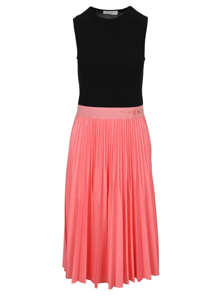 Givenchy Two Tone Pleated Midi Dress - BLACK + PINK
