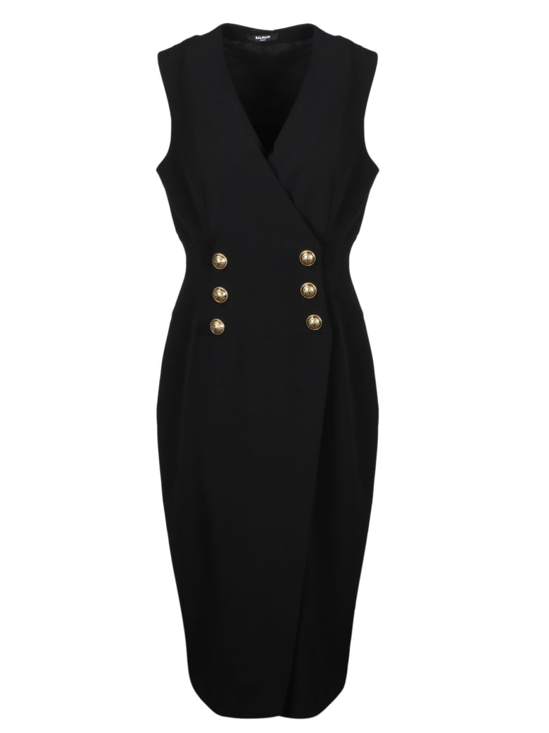 Balmain 6 Buttons Wrap Dress - Black