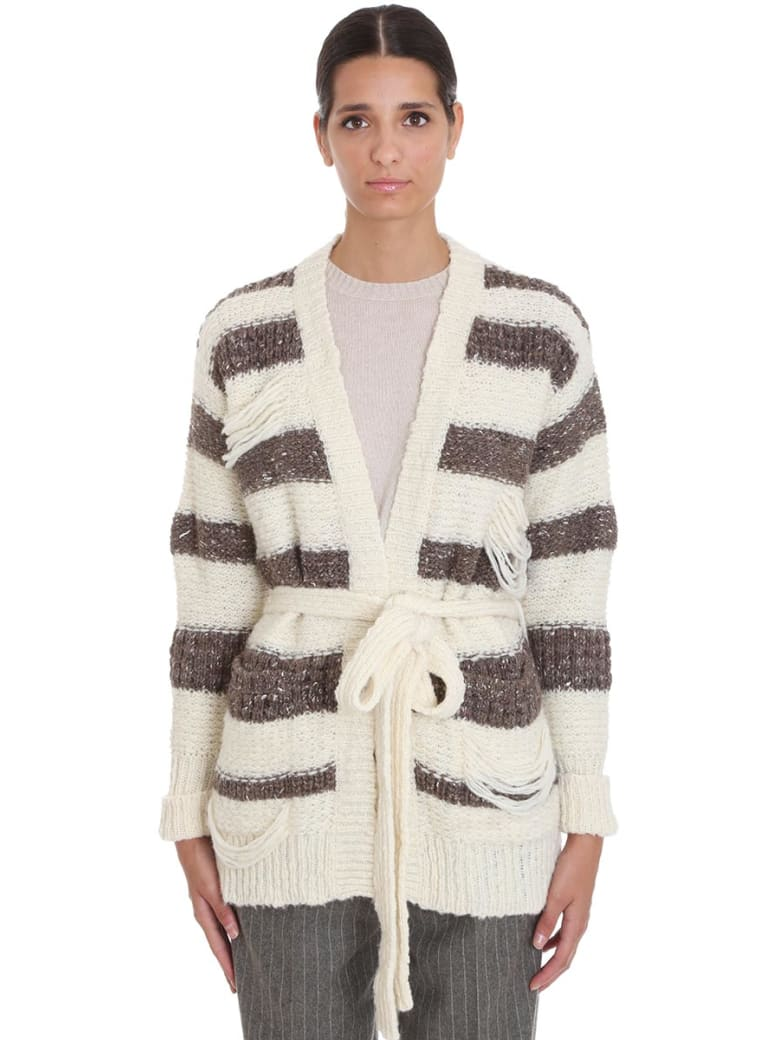Maison Flaneur Cardigan In White Wool - white