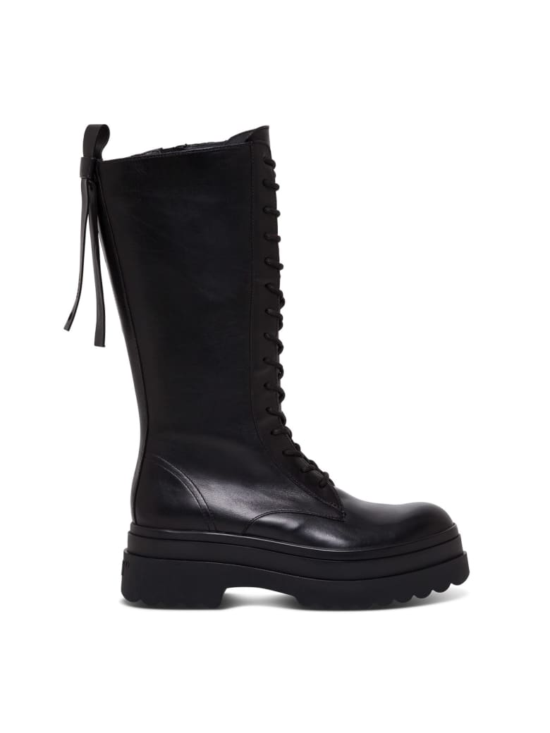 RED Valentino Shiny Black Leather Ankle Boot - Black