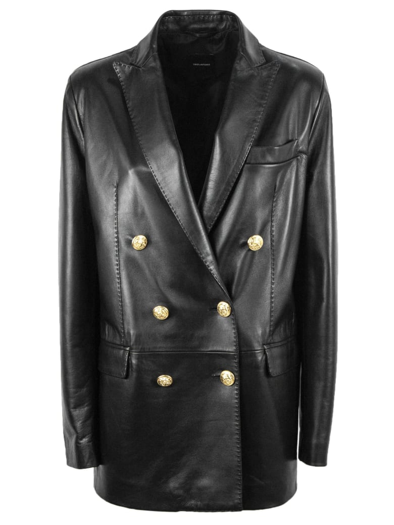 Tagliatore Black Leather Blazer - Nero