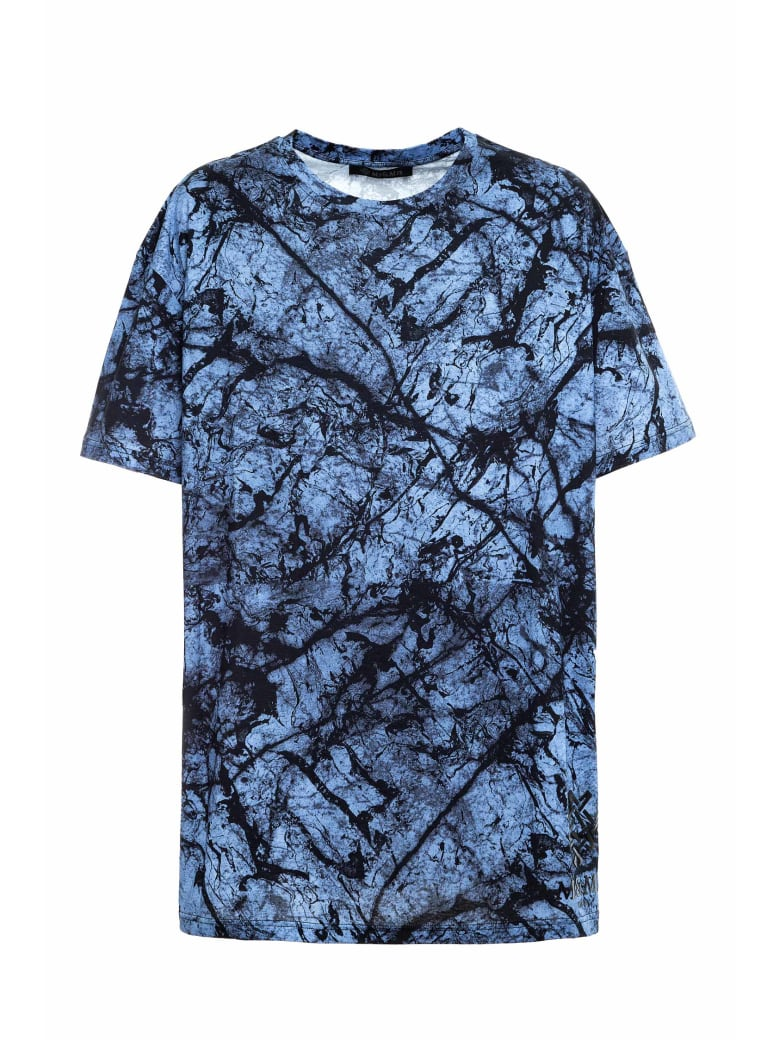 Mr & Mrs Italy Marble-printed Oversized T-shirt For Man - BLUE MARBLE