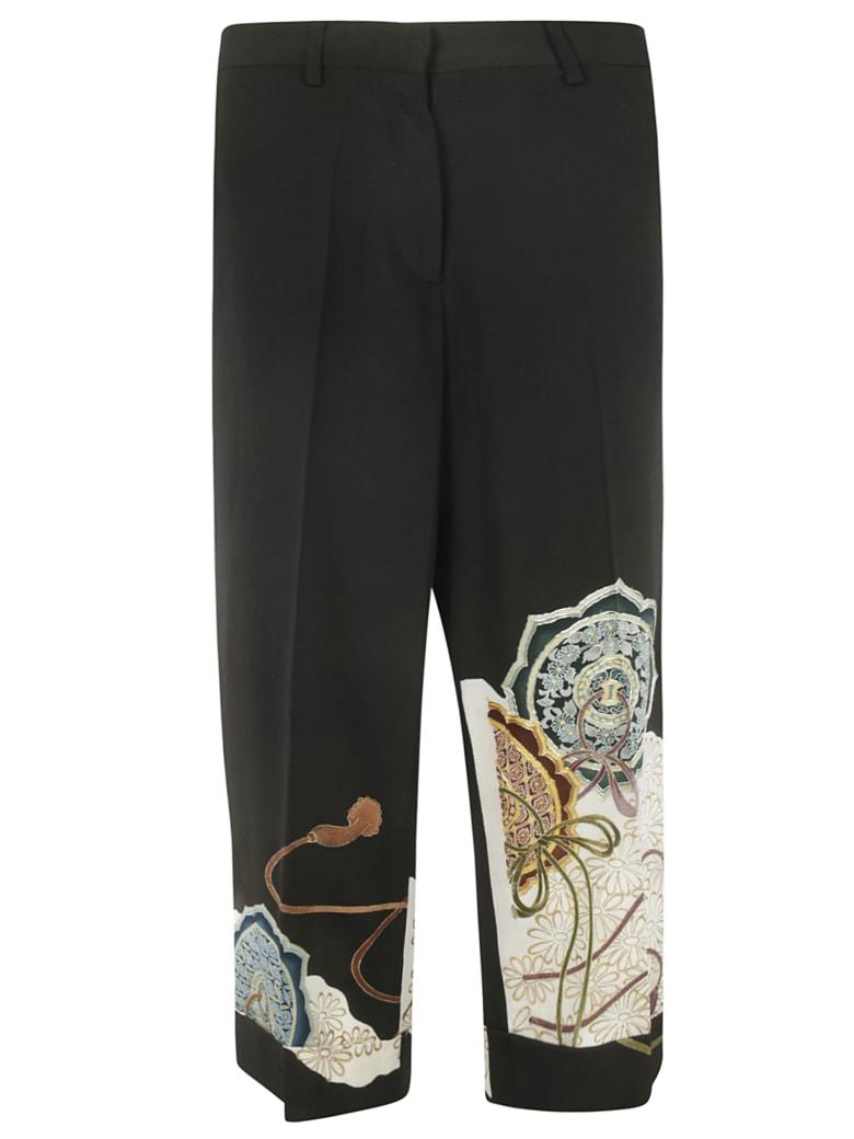 Ibrigu Floral Print Detail Trousers - Black/Multicolor