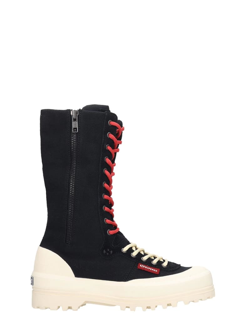 Superga Alpina High Sneakers In Black Canvas - black