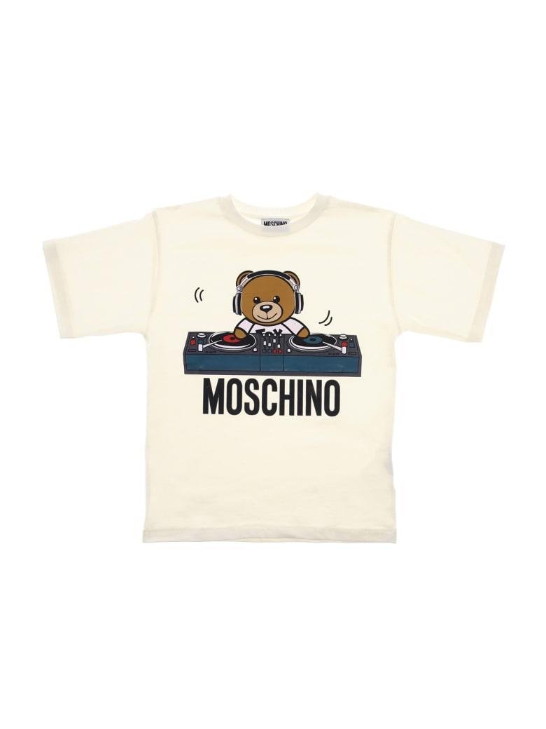 Moschino Tee Maxi Bear Dj Consolle - Bianco