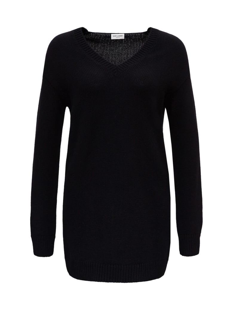 Saint Laurent Long Black Cashmere Sweater - Black