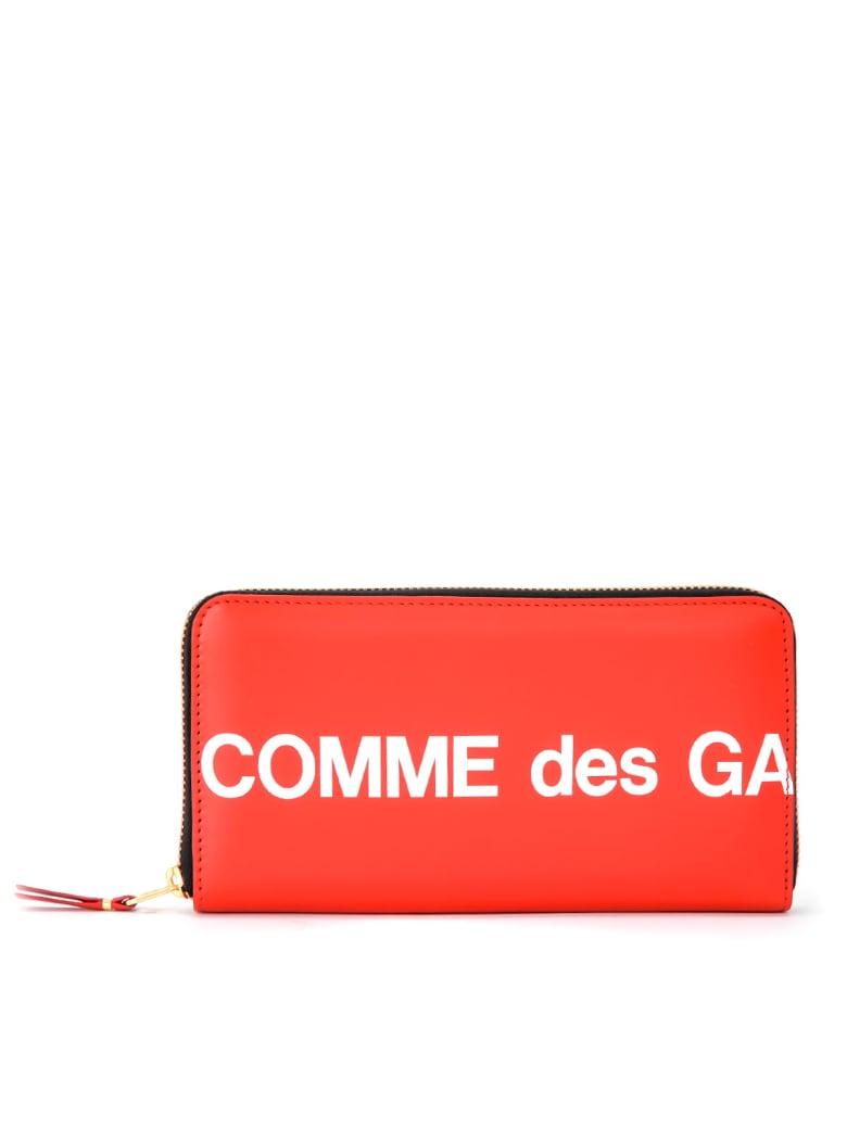 Comme des Garçons Wallet Huge Wallet Logo Zip Around In Red Leather - ROSSO