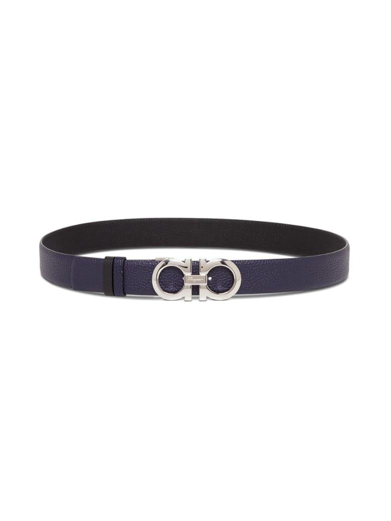 Salvatore Ferragamo Reversible Leather Gancini Belt - Black