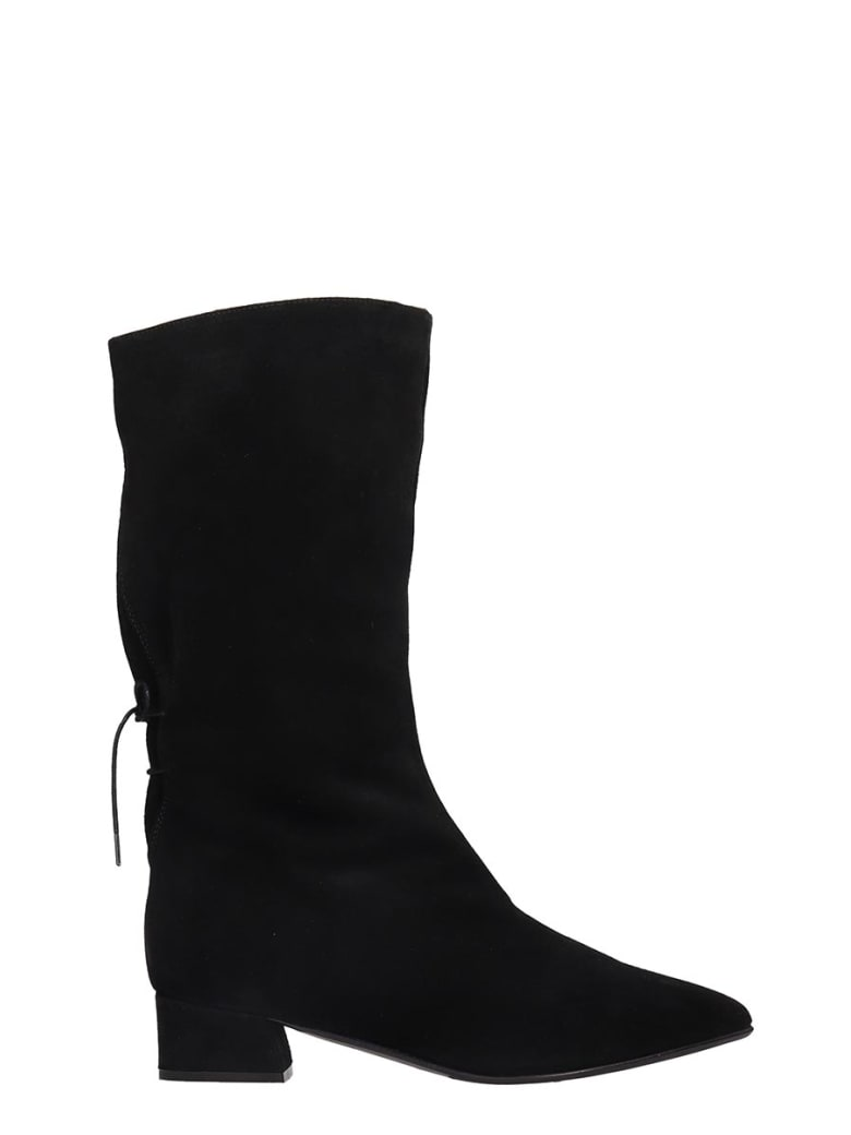 Fabio Rusconi Low Heels Ankle Boots In Black Suede - black