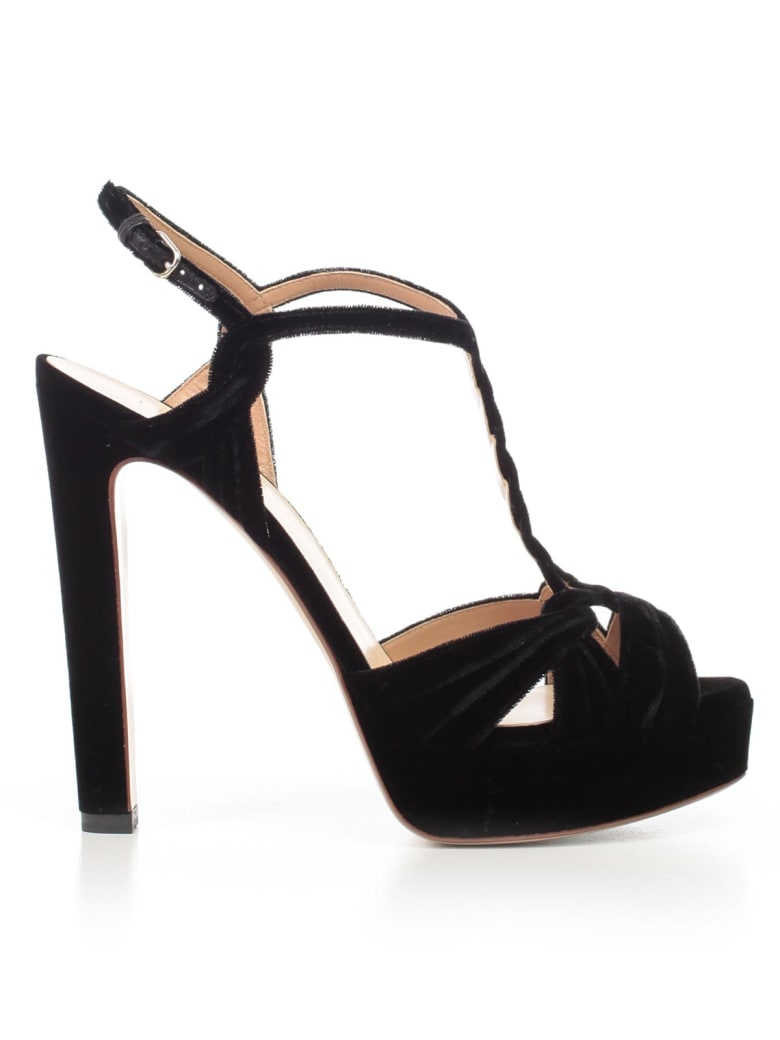 Francesco Russo Sandals Platform Velvet - Black