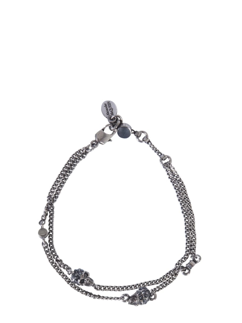 Alexander McQueen Skull Bracelet With Double Chain - ARGENTO