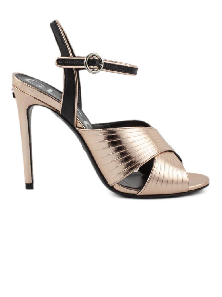 Gucci Salmon Metallic Leather Sandals - Salmone