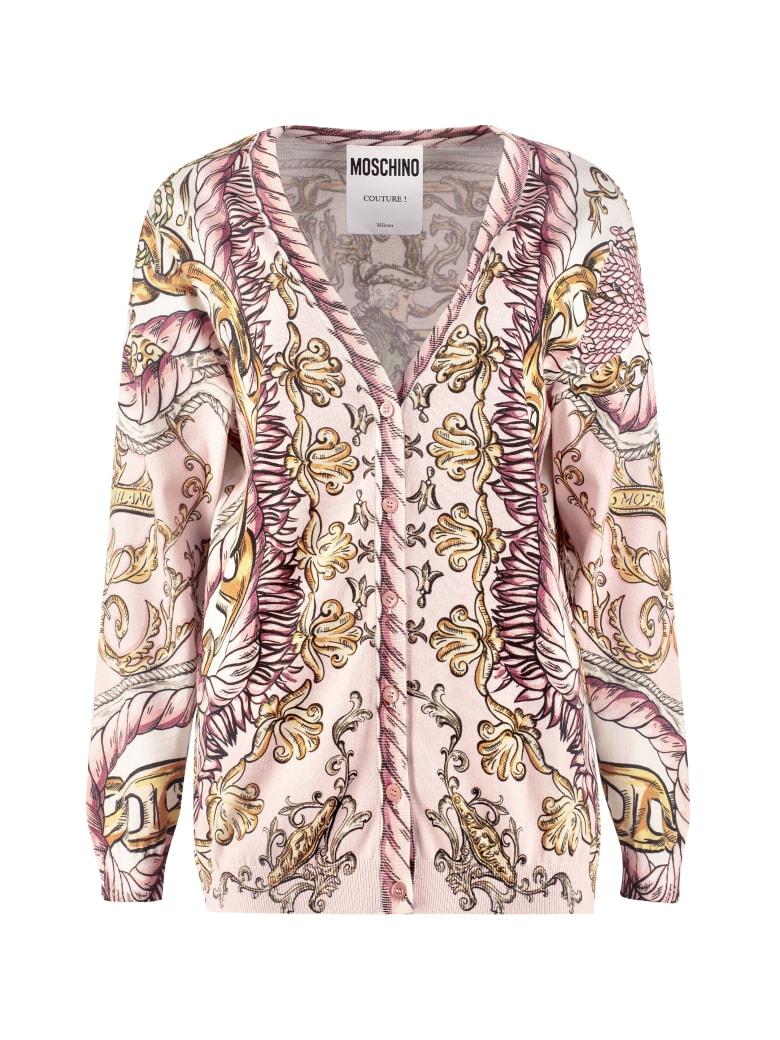 Moschino Printed Cotton Cardigan - Pink