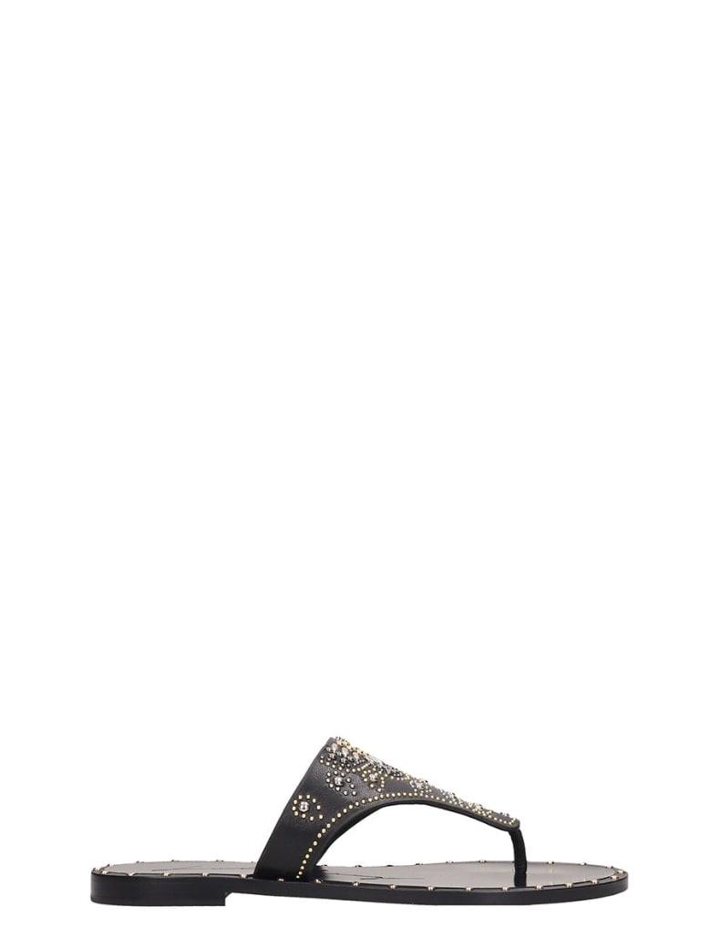 Lola Cruz Black Leather Flats Sandals - black
