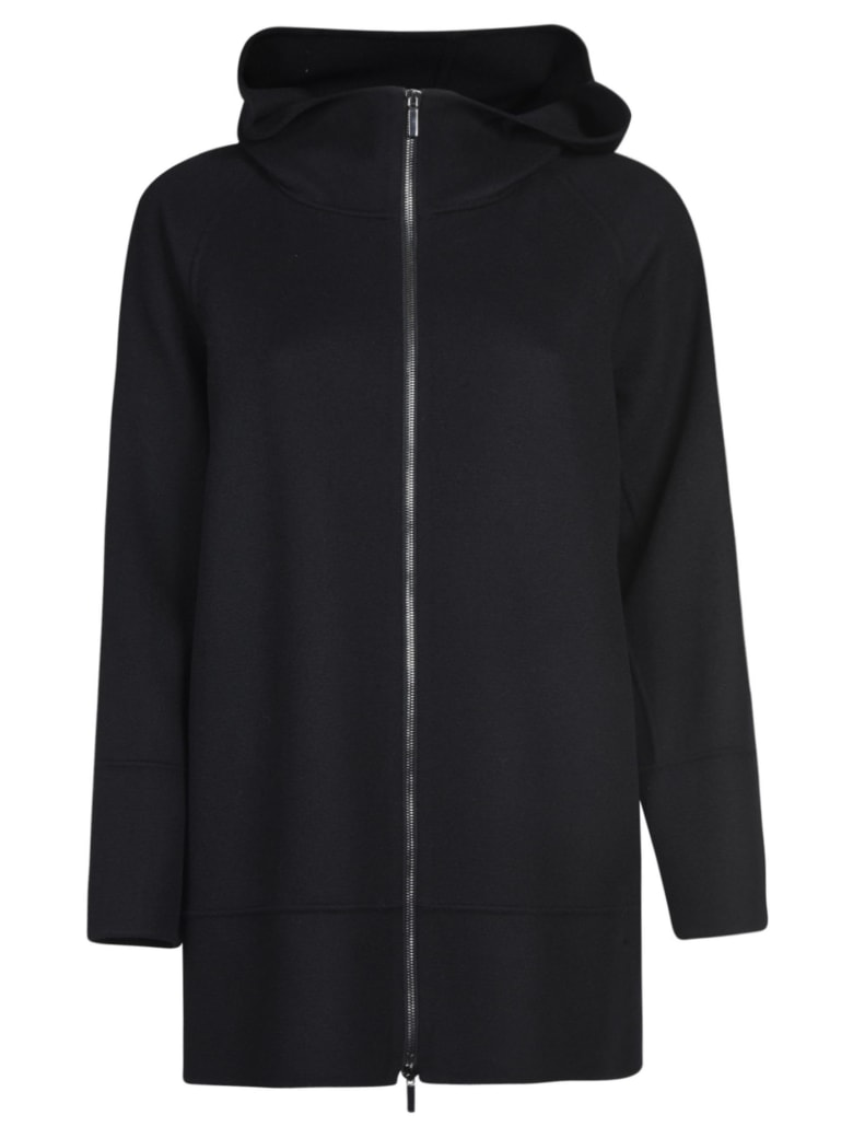 Max Mara The Cube Long Zip Hooded Jacket - Black