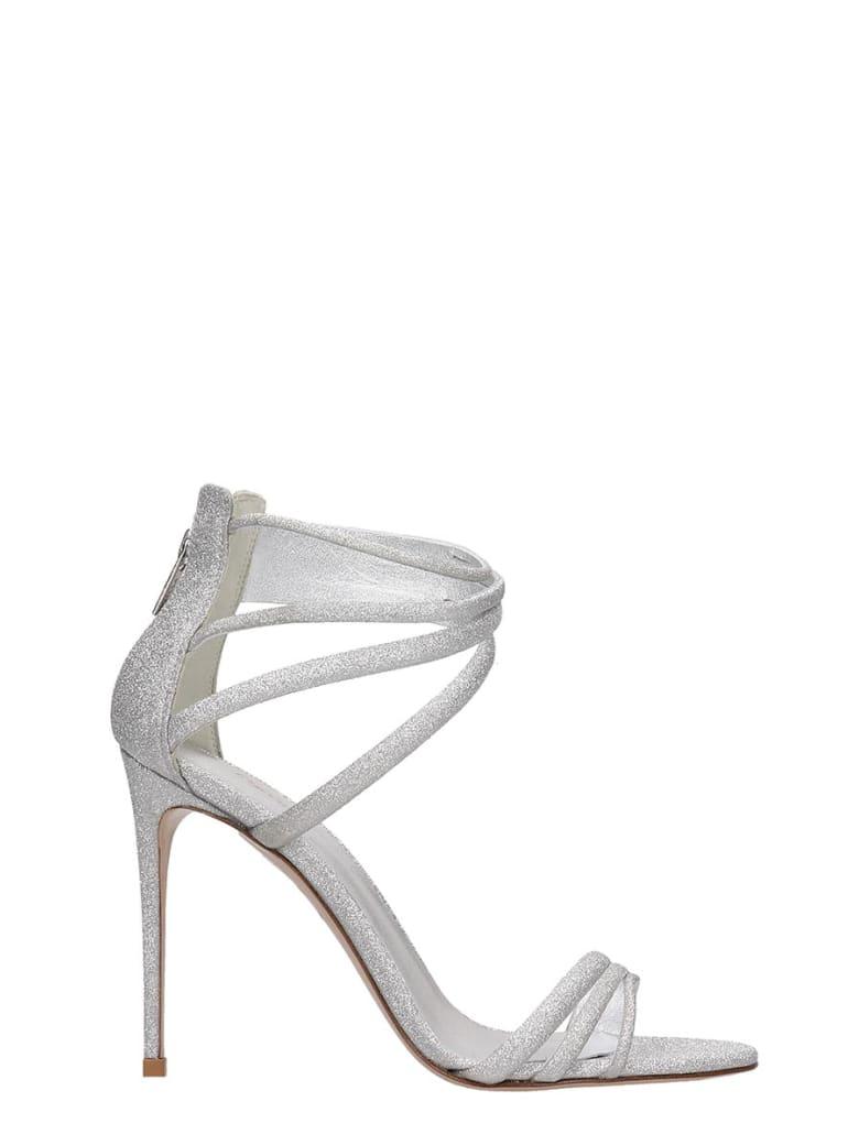 Le Silla Sandals In Silver Glitter - silver