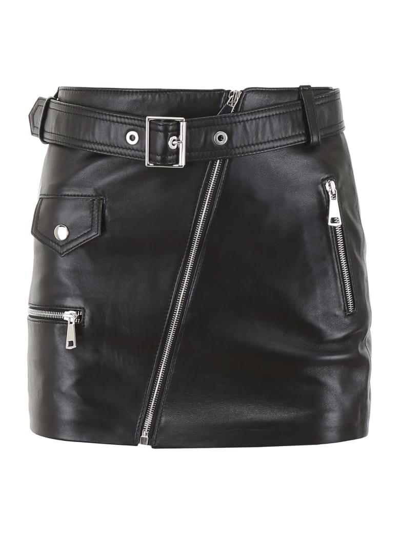 Manokhi Leather Biker Skirt - BLACK (Black)