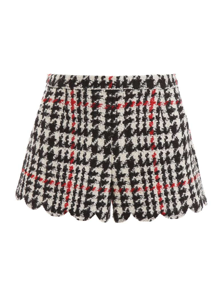RED Valentino Maxi Houndstooth Shorts - NERO (White)