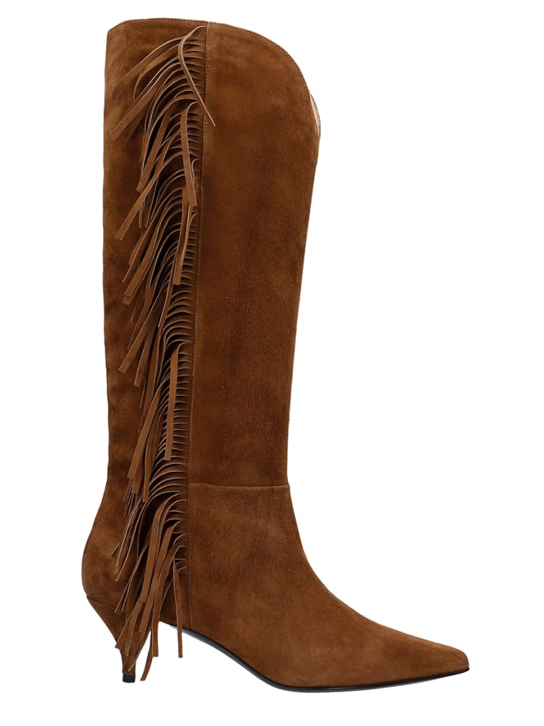 Alchimia Low Heels Boots In Leather Color Suede - leather color