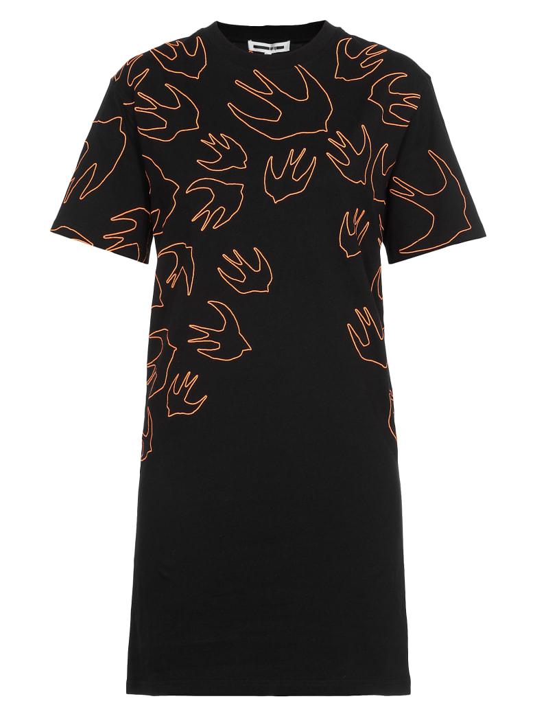 McQ Alexander McQueen Swallow Swarm Embrioideries Dress - Darkest Black