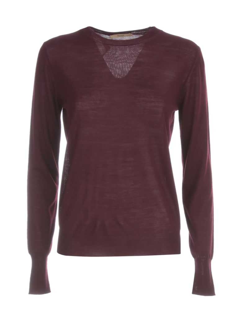 Nuur Round Neck 100% Merino Wool Sweater - Bordeaux