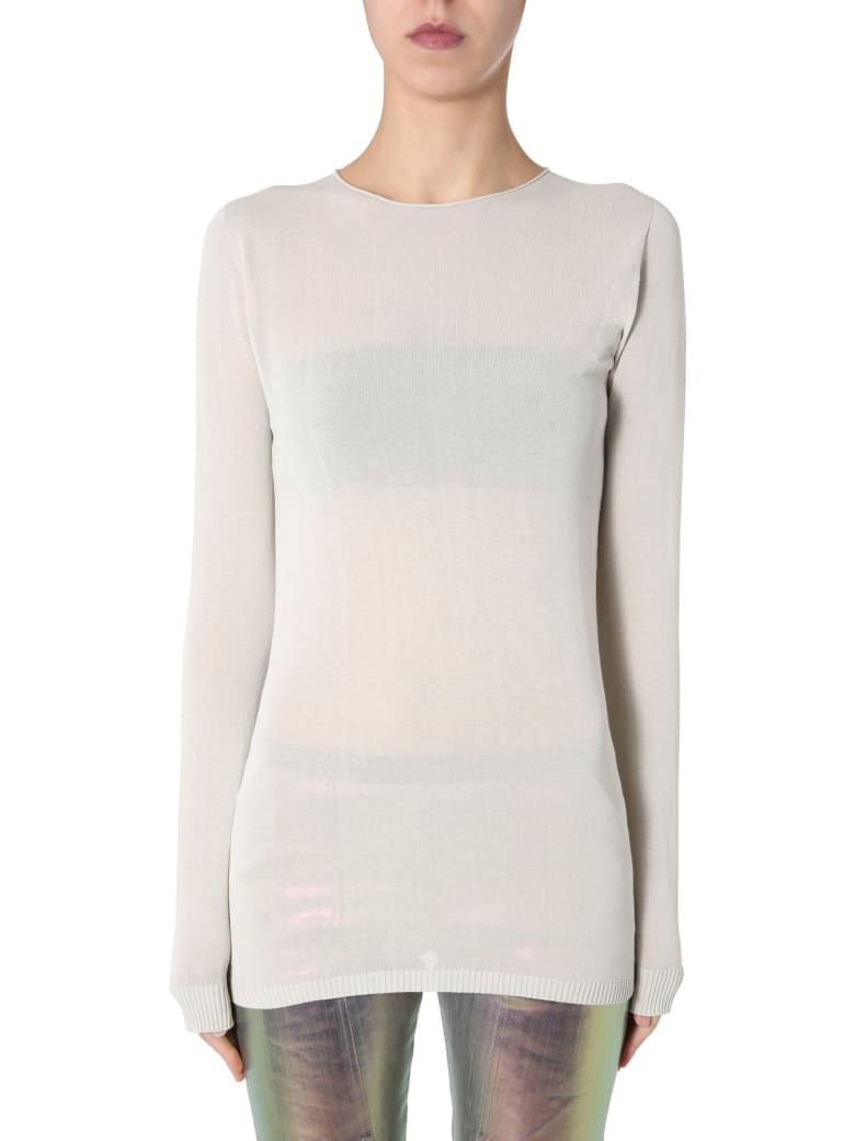 Rick Owens Crew Neck Sweater - BEIGE