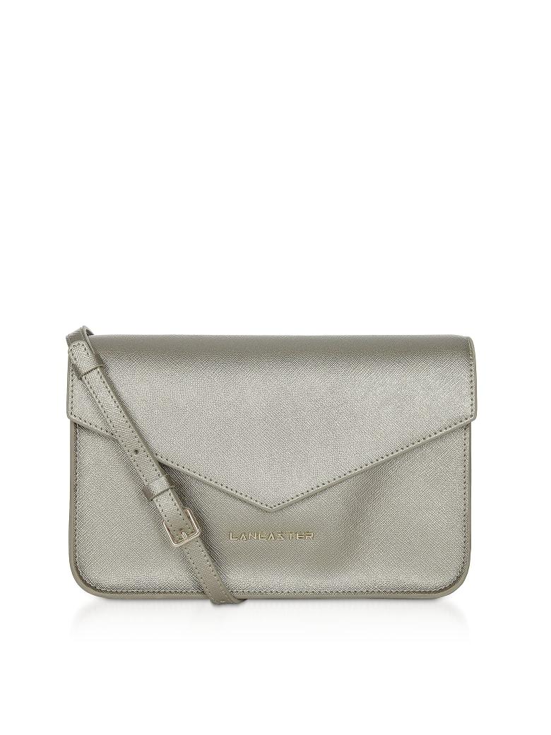 Lancaster Paris Adeline Saffiano Leather Flap Clutch W/shoulder Strap - Gunmetal
