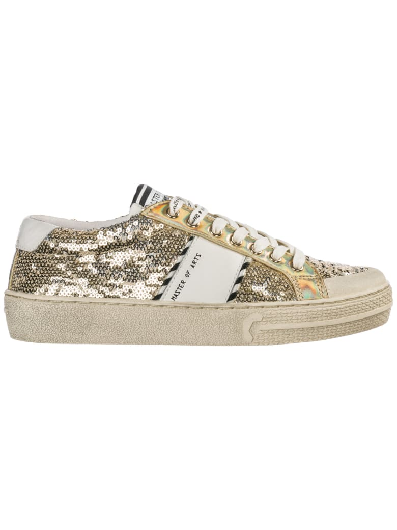 M.O.A. master of arts  Shoes Leather Trainers Sneakers - Gold glitter