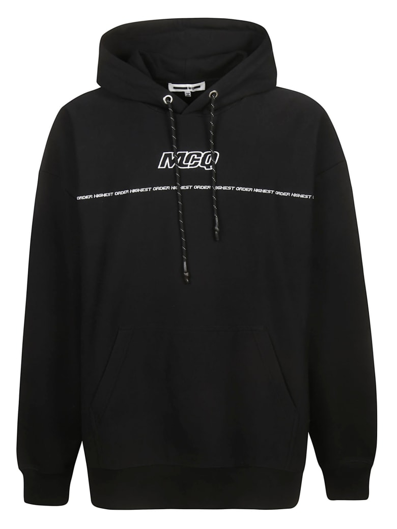 McQ Alexander McQueen Initials Logo Front Hoodie - black