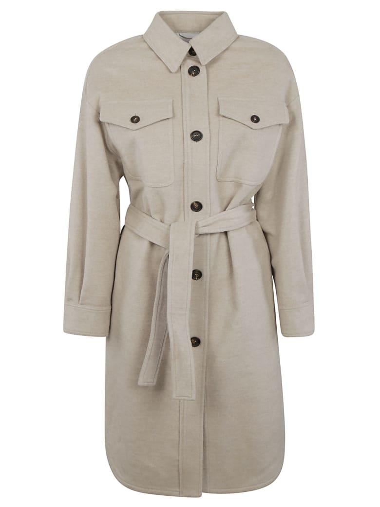 Brunello Cucinelli Belted Waist Buttoned Coat - Pale Beige