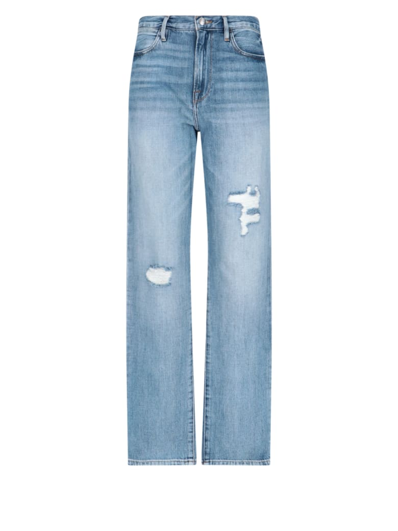 Frame Destroyed Details Denim Pants - Blue