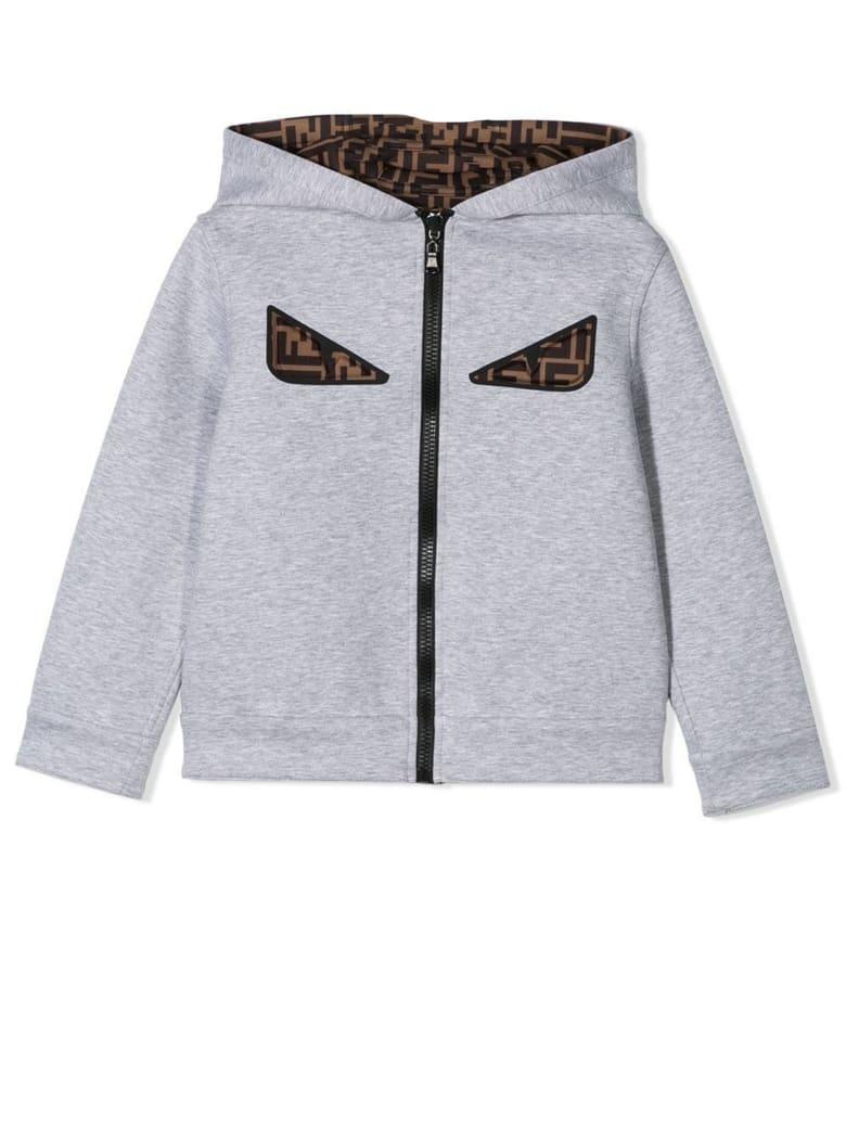 Fendi Grey Zipped Hoodie - Grigio
