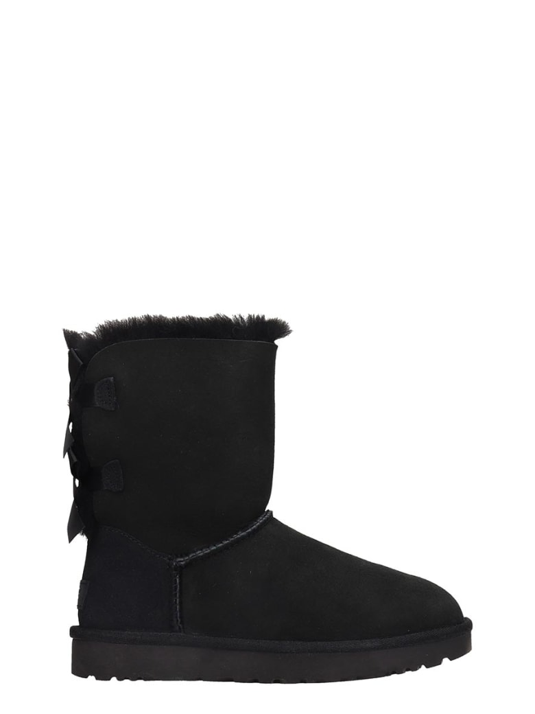 UGG Bailey Bow Ii Low Heels Ankle Boots In Black Suede - black