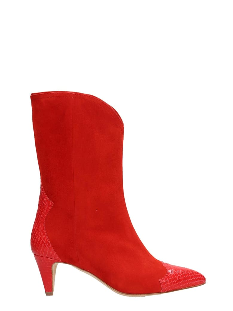 The Seller Red Suede Ankle Boots - red