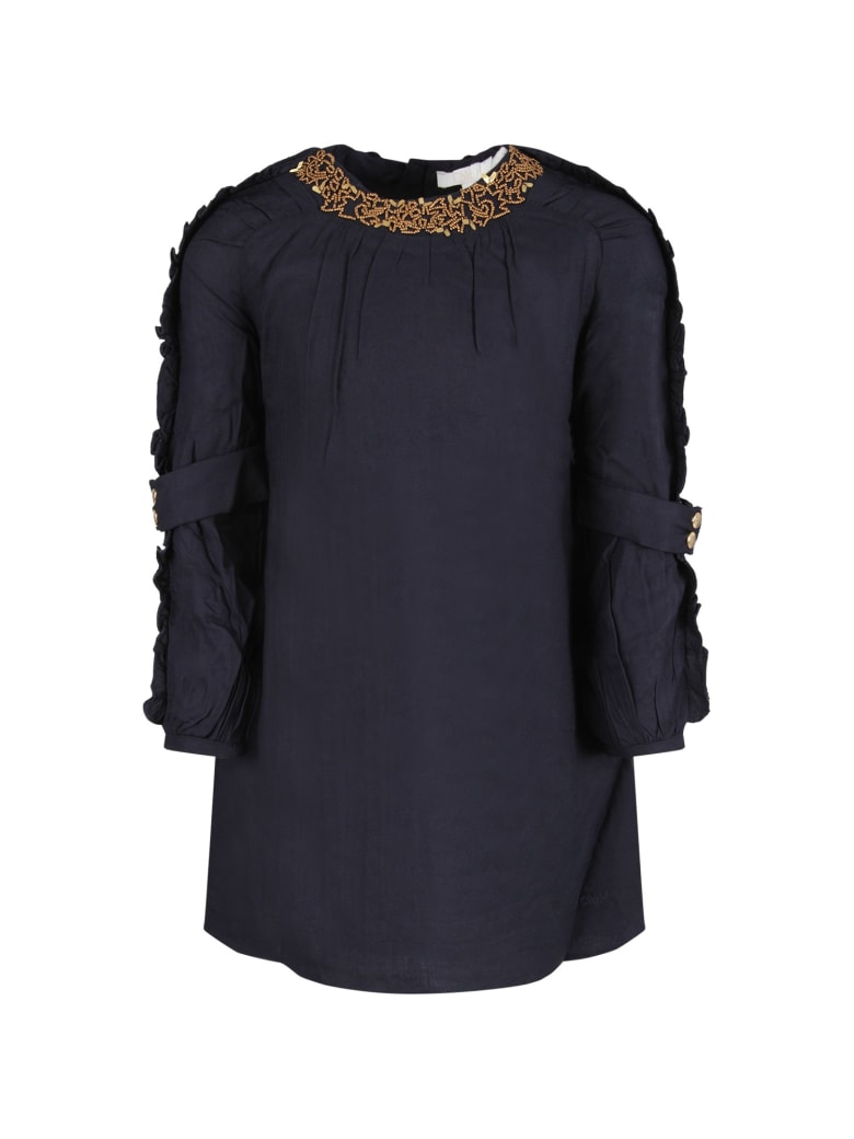 Chloé Blue Girl Dress With Gold Pearls - Blue