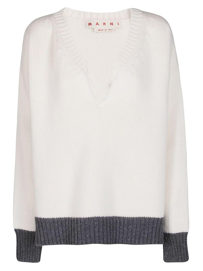 Marni White Virgin Wool Jumper - WHITE GREY