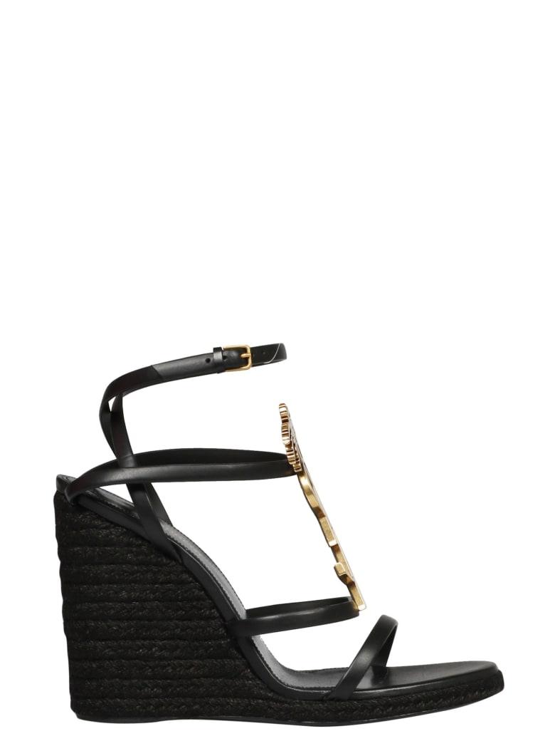 Saint Laurent Cassandra Wedge Sandals - Nero