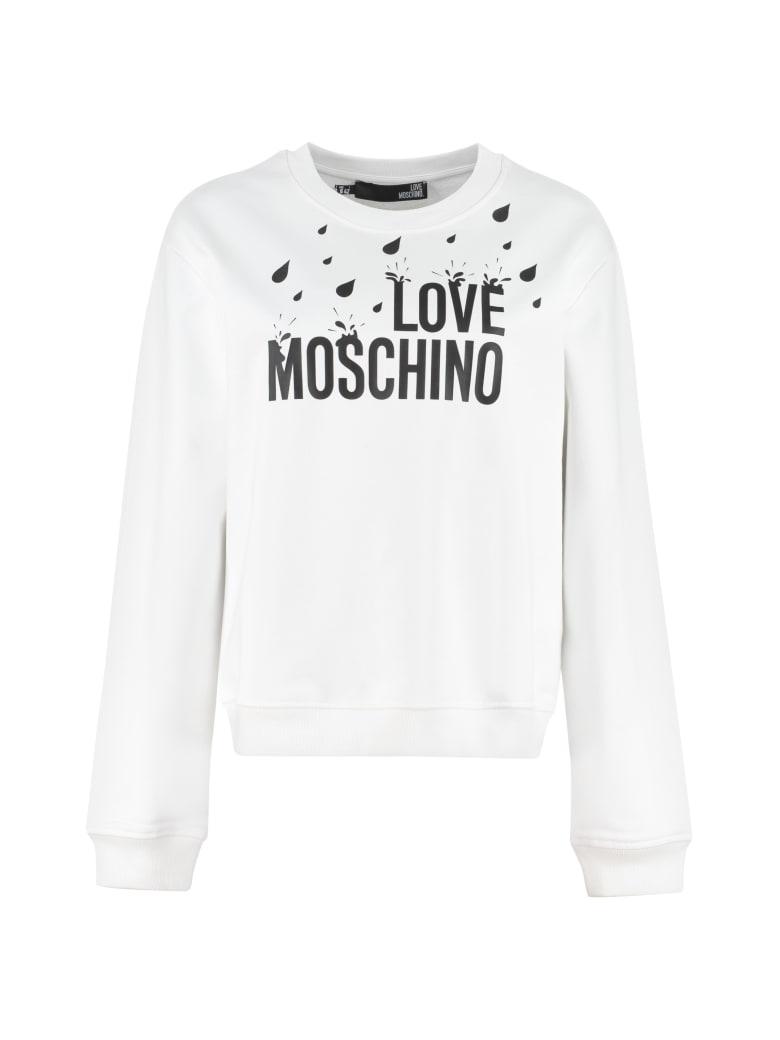 Love Moschino Logo Detail Cotton Sweatshirt - White
