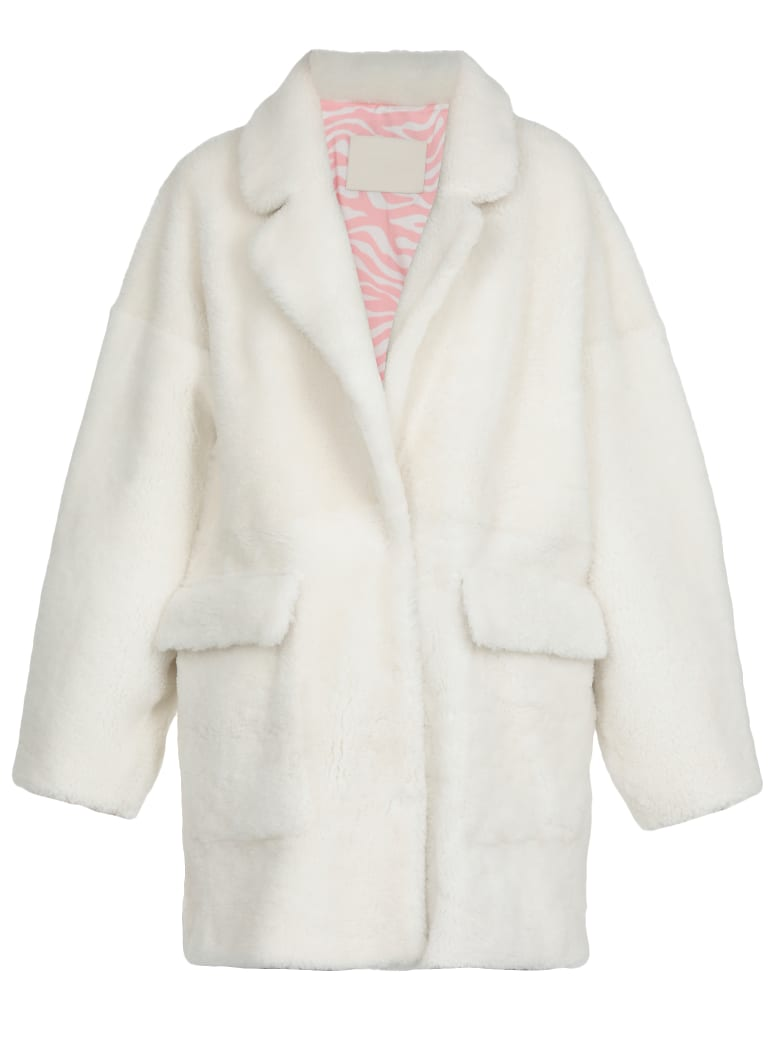 DROMe Shearling Fur Coat - WHITE