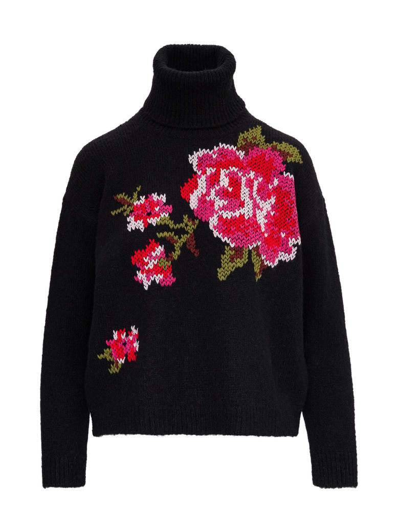 RED Valentino Alpaca Blend Sweater With Floral Detail - Black