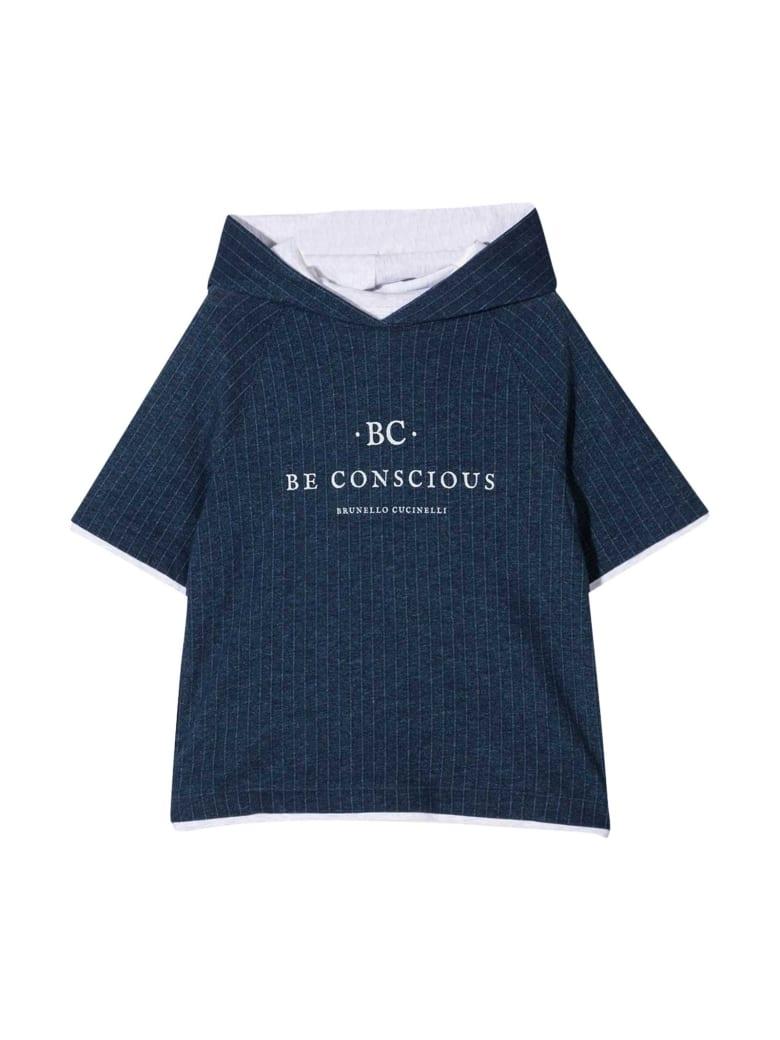 Brunello Cucinelli Blue Sweatshirt With Hood - Blu