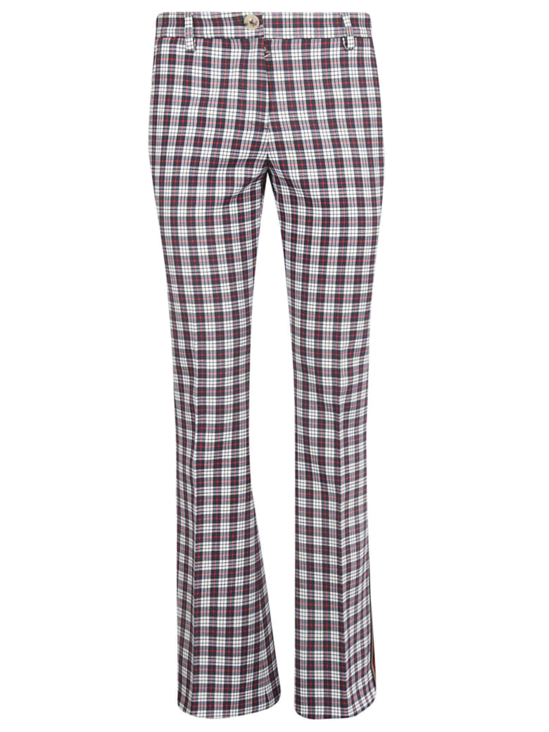 Tommy Hilfiger Checked Flared Trousers - Snow White/Multicolor