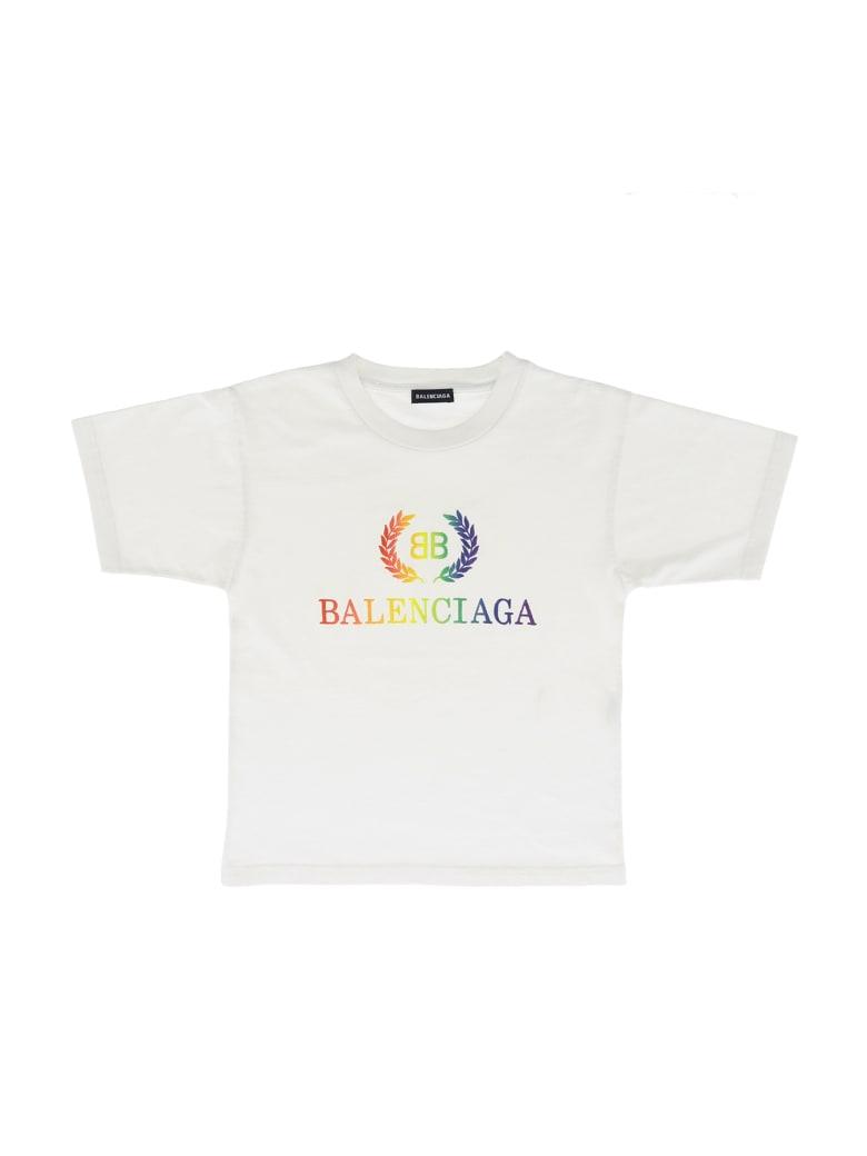 Balenciaga T-shirt Laurier Rainbow Light Jersey - Bianco
