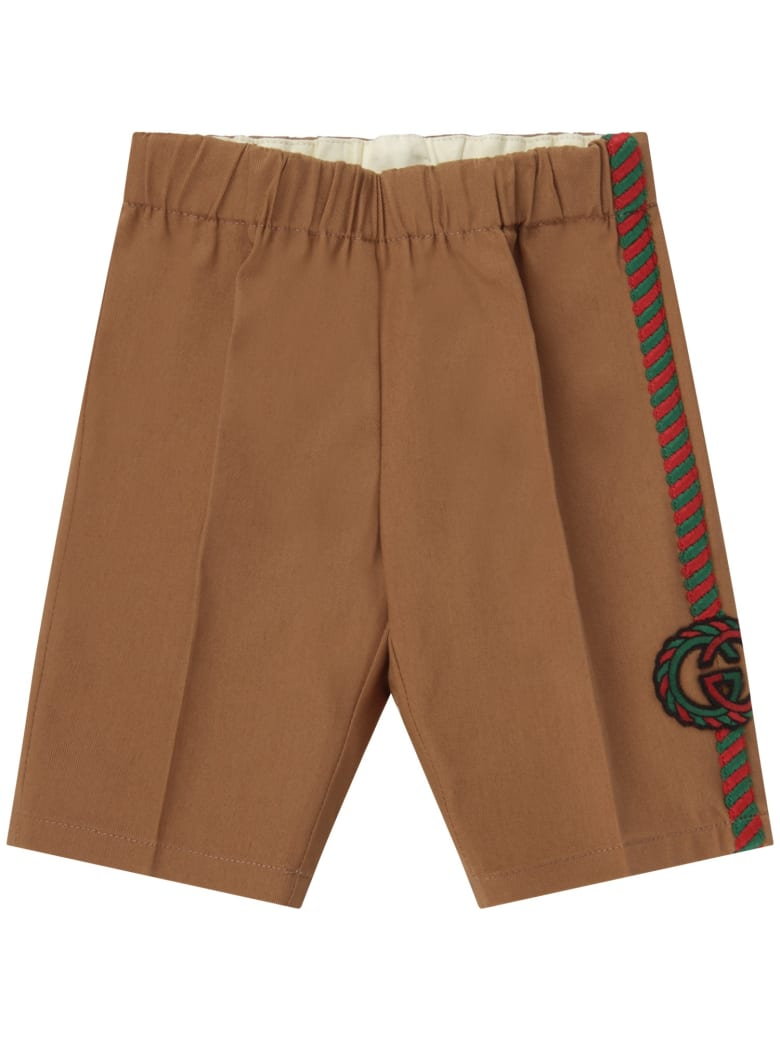 Gucci Beige Pants With Double Gg For Baby Boy - Beige